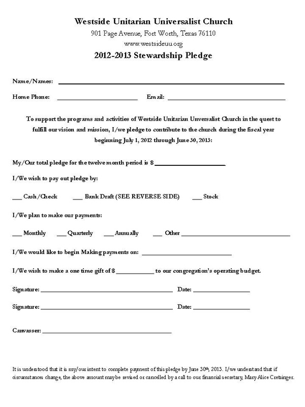 Our Pledge Form - Fast Track To Westside'S Future